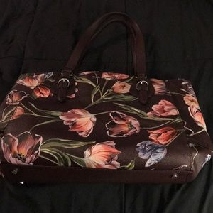 Brown shoulder purse with flowers
